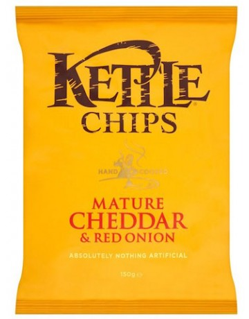 Kettle Chips mature cheddar and red onion (τσενταρ και κρεμμύδι) 150 g