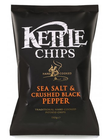 Kettle Chips sea salt and crushed black pepper (θαλασσινό αλάτι & πιπέρι) 150 g