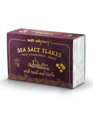 Νιφάδες Θαλασσινού αλατιού Βασιλικό και Σκόρδο 75 g, Salt Odyssey