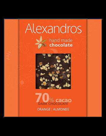 Σοκολάτα υγείας πορτοκάλι- αμύγδαλα 90g, Alexandros Hand Made Chocolate