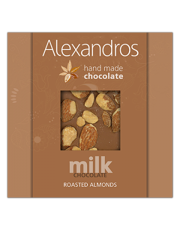 Σοκολάτα γάλακτος αμύγδαλα 90g, Alexandros Hand Made Chocolate