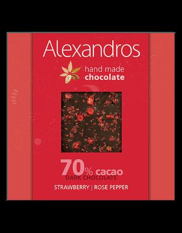 Σοκολάτα υγείας ροζ πιπέρι- φράουλα 90g, Alexandros Hand Made Chocolate
