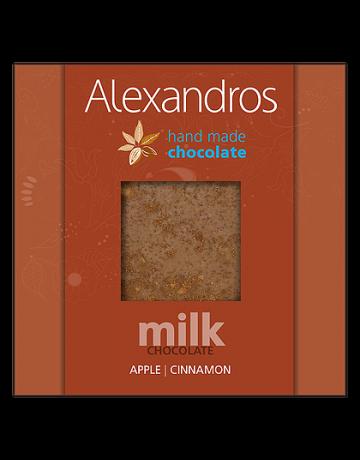 Σοκολάτα γάλακτος μήλο- κανέλα 90g, Alexandros Hand Made Chocolate