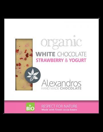 Βιολογική σοκολάτα λευκή με φράουλα και γιαούρτι 90g, Alexandros Hand Made Chocolate