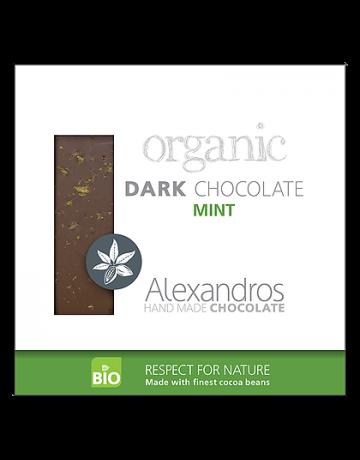 Βιολογική σοκολατα υγείας με μέντα 90g, Alexandros Hand Made Chocolate