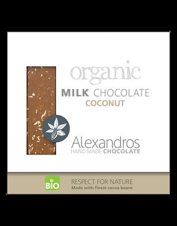 Βιολογική σοκολάτα γάλακτος με καρύδα 90g, Alexandros Hand Made Chocolate