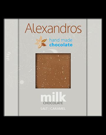 Σοκολάτα γάλακτος καραμέλα- αλάτι 90g, Alexandros Hand Made Chocolate