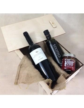 Gourmet box, ξύλινη συσκευασία δώρου με 3 προϊόντα