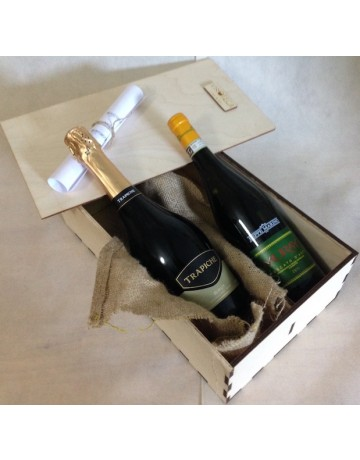 Sparkling Box, ξύλινη συσκευασία δώρου 2 φιαλών