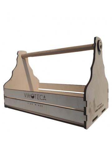 Ξύλινος δίσκος δώρου με χερούλι 3-4 φιαλών