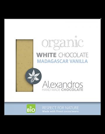 Βιολογική σοκολάτα λευκή με βανίλια Μαγαδασκάρης 90g, Alexandros Hand Made Chocolate