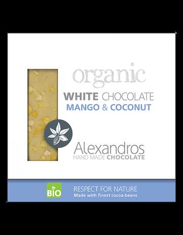 Βιολογική σοκολάτα λευκή με μάνγκο και καρύδα 90g, Alexandros Hand Made Chocolate