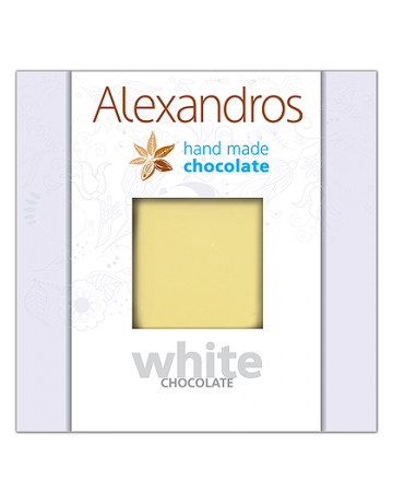 Σοκολάτα λευκή 90g, Alexandros Hand Made Chocolate